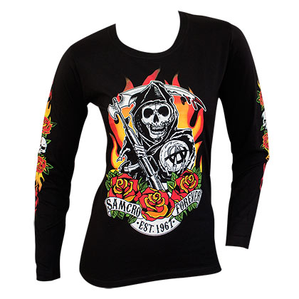 Sons Of Anarchy Women's Black Reaper Flames Long Sleeve Shirt