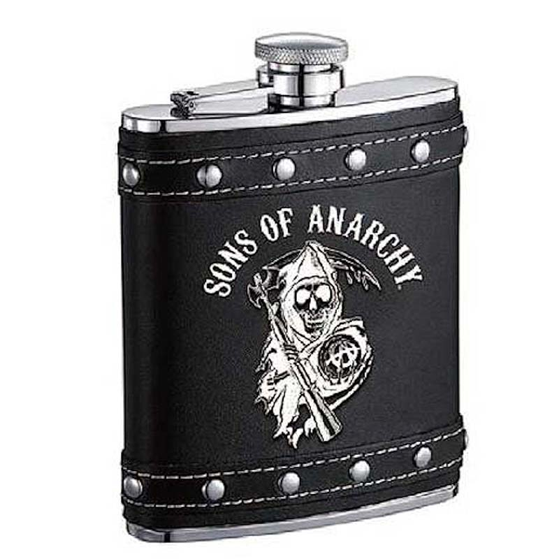 sons of anarchy studded flask. Black Bedroom Furniture Sets. Home Design Ideas