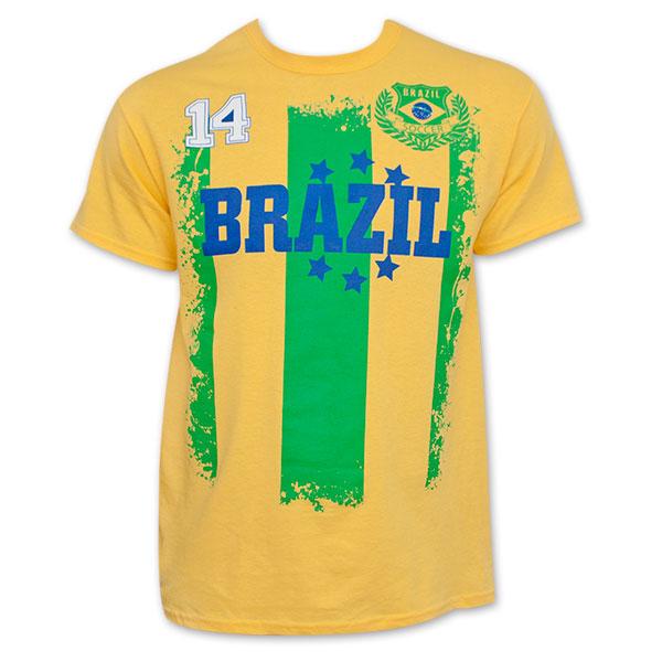 Brazil Yellow World Cup Soccer No. 14 T-Shirt