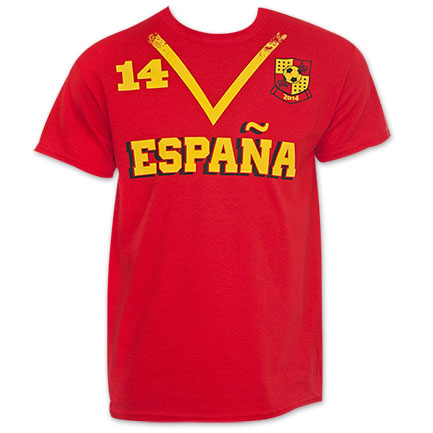 Spain Red World Cup Soccer No. 14 T-Shirt