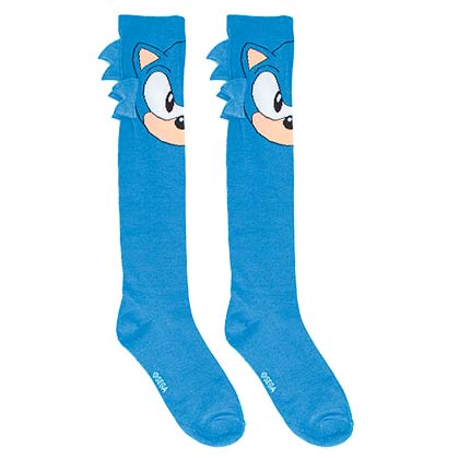 Sonic Face Ladies Knee High Blue Socks