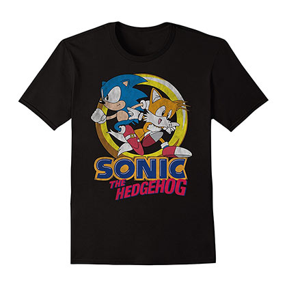 Sonic The Hedgehog And Tails Boys 8-20 Kids Black YShirt