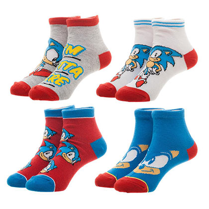 Sega Sonic The Hedgehog 4 Pack Youth Socks