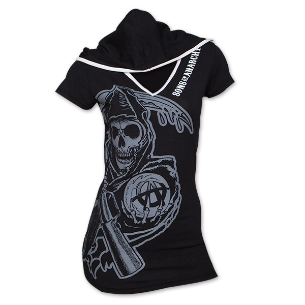 Sons Of Anarchy Hooded Reaper Juniors Ladies Tee - Black