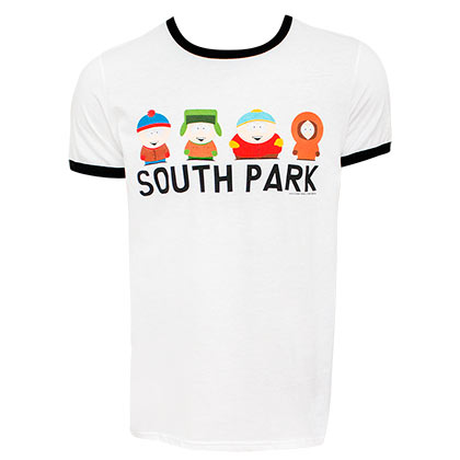 South Part Character Lineup Men's White Ringer T-Shirt
