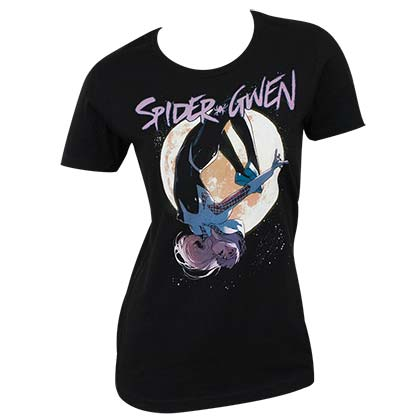 Spider Gwen Juniors Black Logo T-Shirt