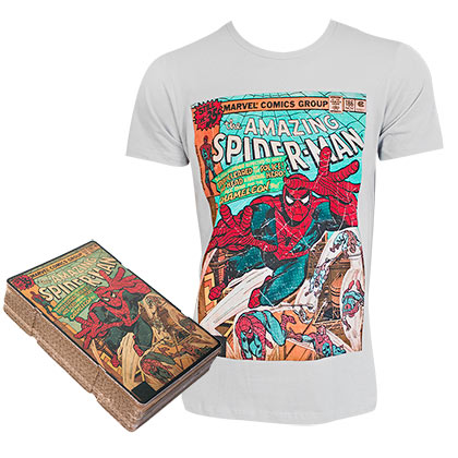 Spiderman Comic Cover Amazing Spiderman Boxed Gray Tee Shirt