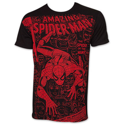 Men's Black Spider-Man Subway Comic Book Tee Shirt