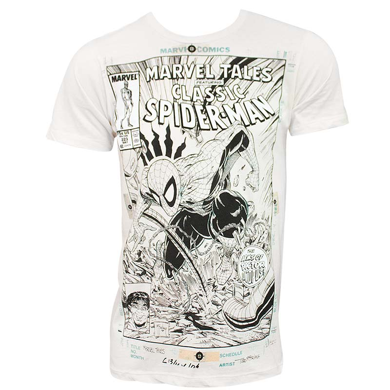 Spider-Man Comic Cover Men's Off-White Tee Shirt