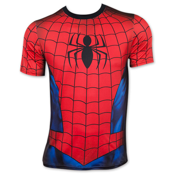 spider man red and blue sublimated costume t shirt. Black Bedroom Furniture Sets. Home Design Ideas