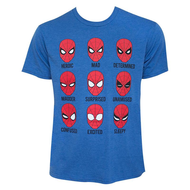 spiderman men 39 s blue expressions t shirt. Black Bedroom Furniture Sets. Home Design Ideas