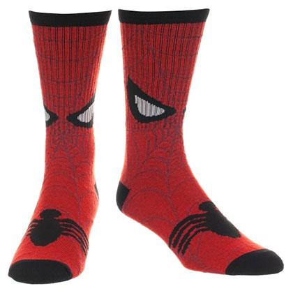 Spiderman Mask Print Men's Red Socks