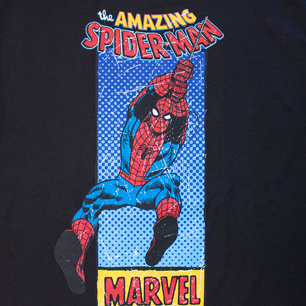 Swinging Spiderman Black T Shirt