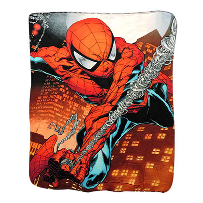 Spiderman Comic Web Swing Fleece Blanket