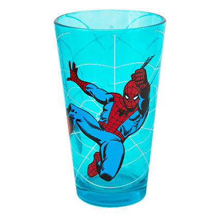 Spiderman Blue Swinging Pint Glass