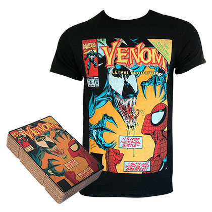 Spiderman VS Venom Men's Black Comic Cover Boxed T-Shirt