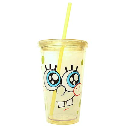 Spongebob Squarepants Cup With Lid And Straw