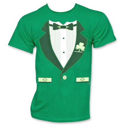 Irish Tuxedo St. Patrick's Day Novelty Graphic Green Tee Shirt