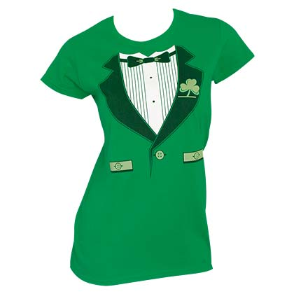 Irish Tux St. Patrick's Day Juniors Graphic T Shirt
