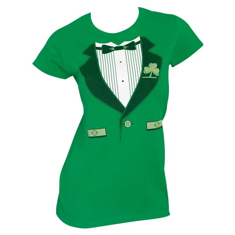 Irish Tux St. Patrick's Day Womens Graphic Tee Shirt