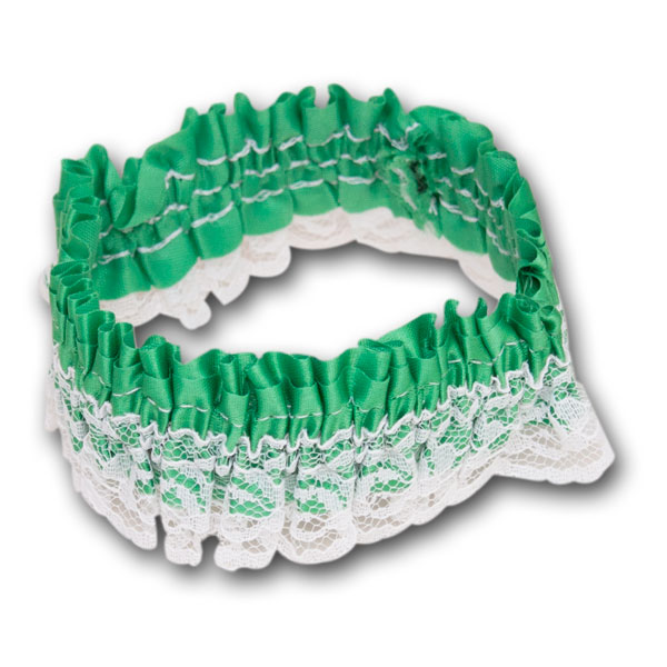 St. Patrick's Day Green White Lace Leg Garter