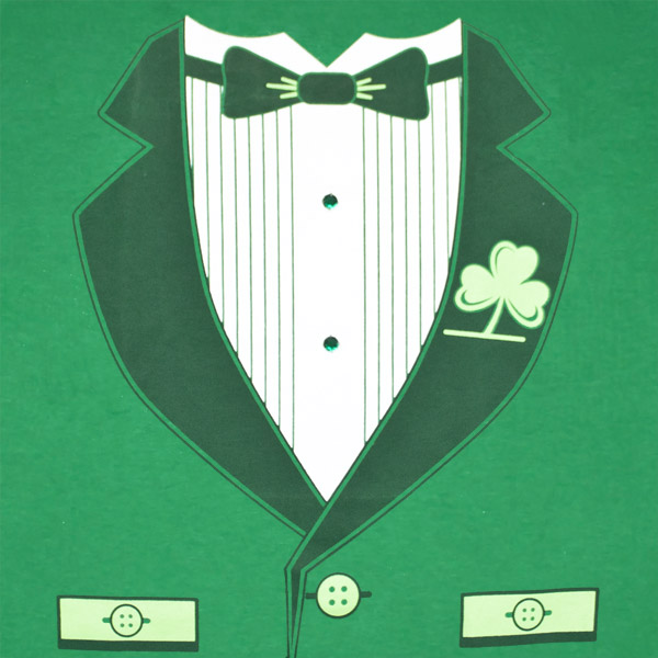 Irish Tuxedo St. Patrick's Day Novelty Graphic Green TShirt
