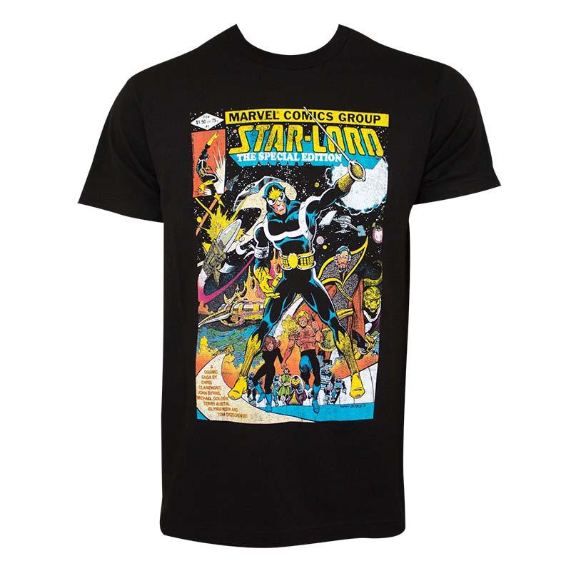Guardians Of The Galaxy Women's Black Star Lord Comic T-Shirt