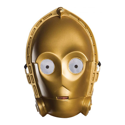 Star Wars C3PO Vacuform Plastic Adult Costume Half Mask