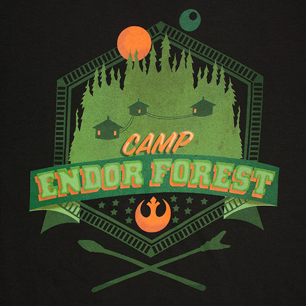 Men's Star Wars Camp Endor Green and Black Forest T Shirt