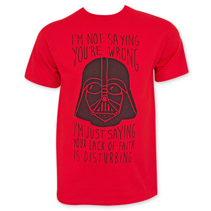 Star Wars Red Lack Of Faith Tee Shirt
