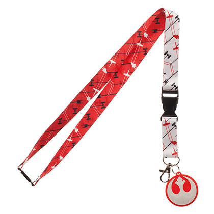 Star Wars White & Red Episode 8 Rebel Keychain Lanyard