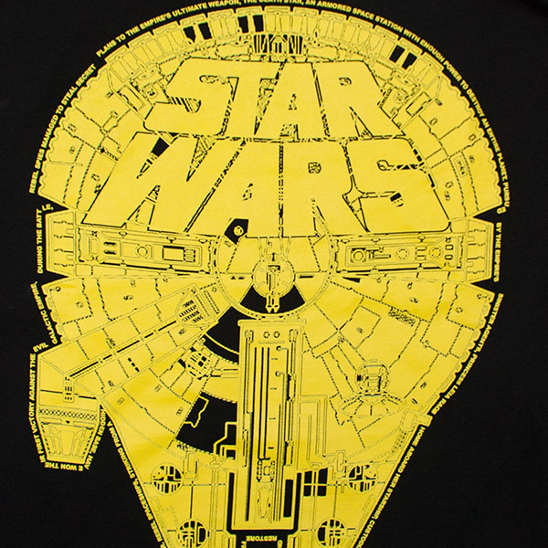 Men's Black and Gold Star Wars Millennium Falcon 1000 Tee Shirt