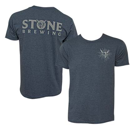 Stone Brewing Devil Logo Heather Blue Men's T-Shirt