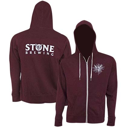 Stone Brewing Text Logo Burgundy Men's Sweatshirt Hoodie