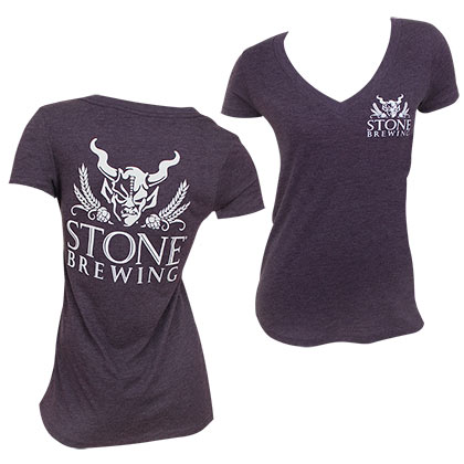 Stone Brewing Co. Women's Purple V Neck T-Shirt
