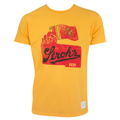 Stroh's Men's Gold Retro Brand T-Shirt