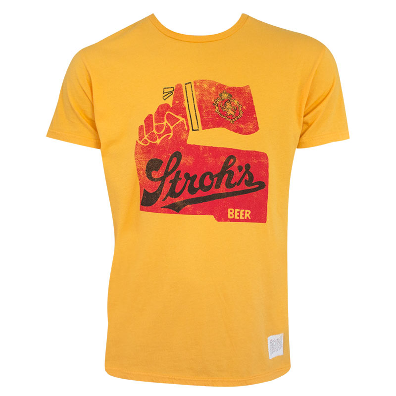Stroh's Men's Gold Retro Brand T-Shirt