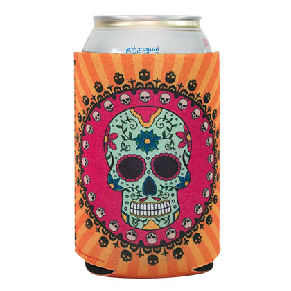 Sugar Skull Orange Beer Can Insulator