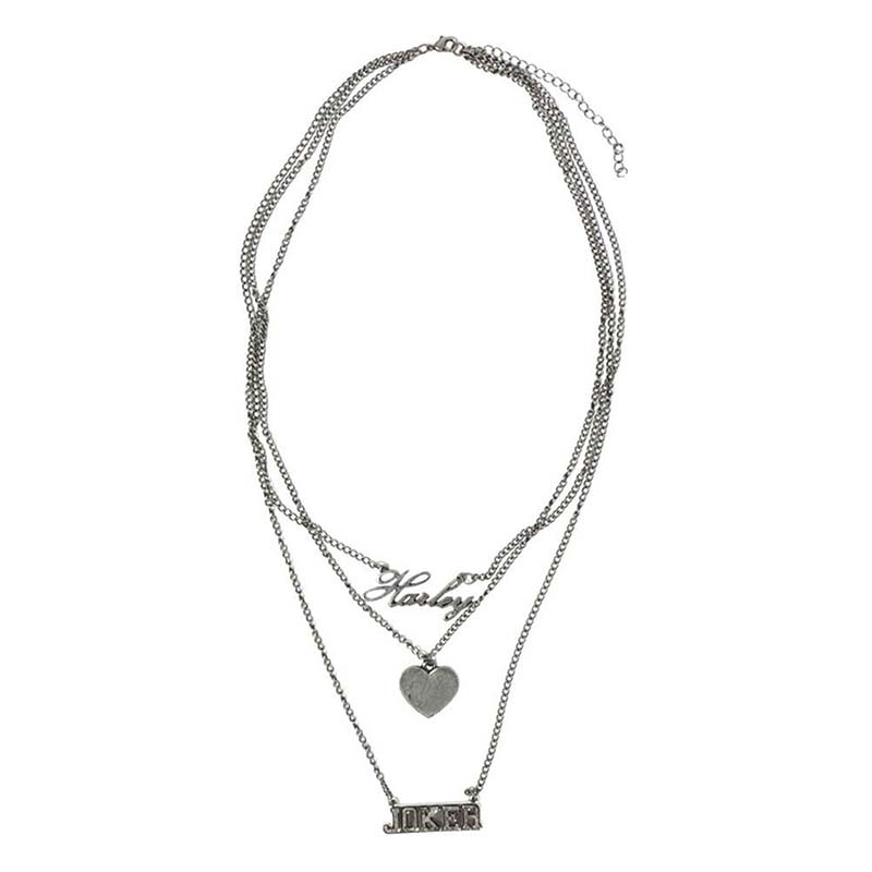 Harley quinn joker triple necklace for Harley quinn and joker jewelry