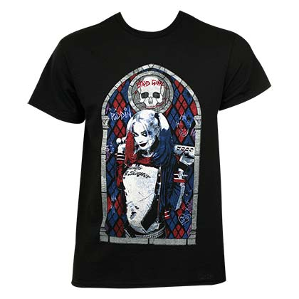 Suicide Squad Men's Black Harley Quinn Stained Glass T-Shirt