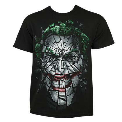 Joker Men's Black Shattered Face T-Shirt