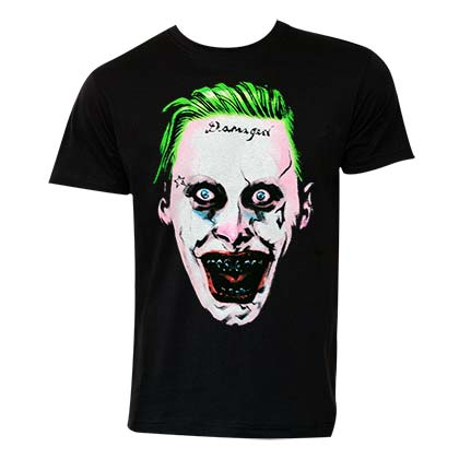 Suicide Squad Men's Black Joker Face T-Shirt