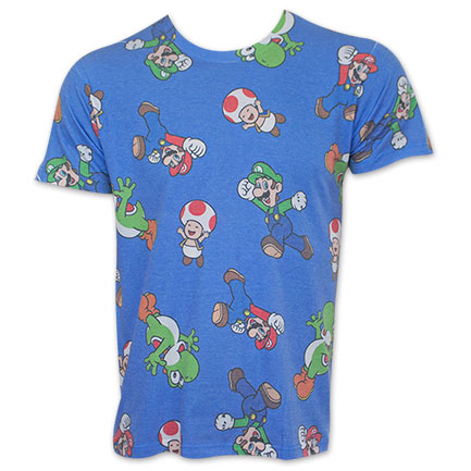 nintendo mario blue characters all over print tshirt