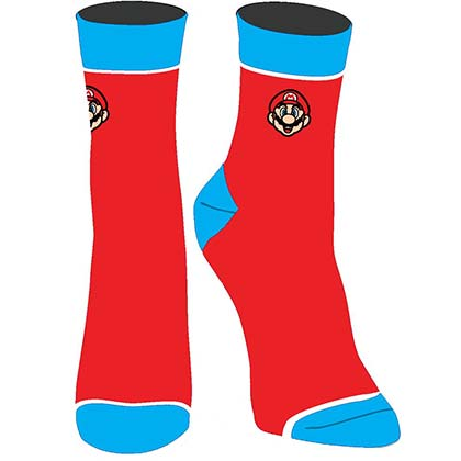 Super Mario Embroidered Juniors Red Socks