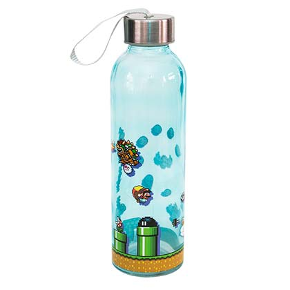 Super Mario Bros. Glass Level Up Travel Water Bottle