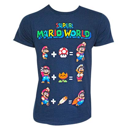 Super Mario World Equation Navy Blue Tee Shirt