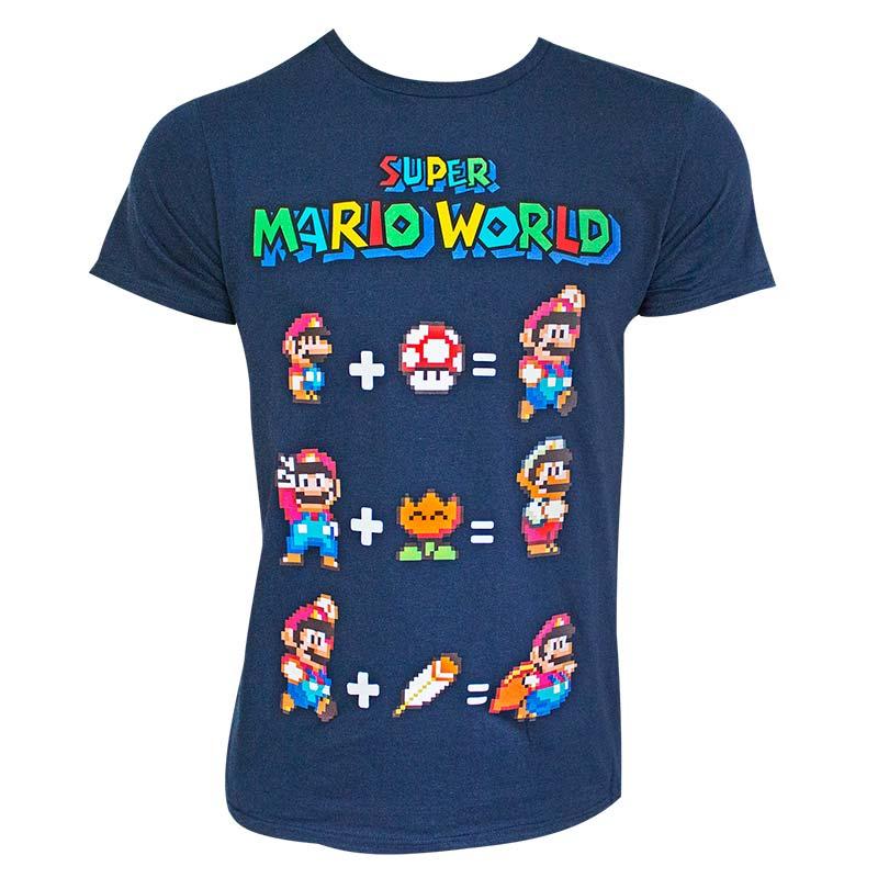 Super Mario World Equation Navy Blue Tee Shirt