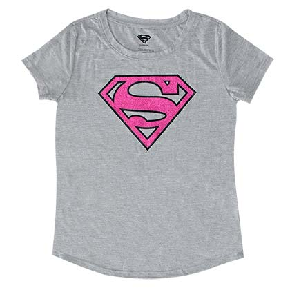 Superman Pink Glitter Logo Youth Girls 7-16 Grey TShirt