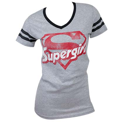 Supergirl Juniors Black Varsity V-Neck T-Shirt