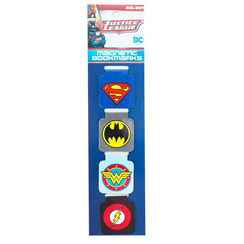 Justice League Superhero Logos Folded Magnetic Bookmarks Set Of 4